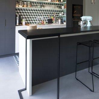 console bar de la cuisine piètement acier